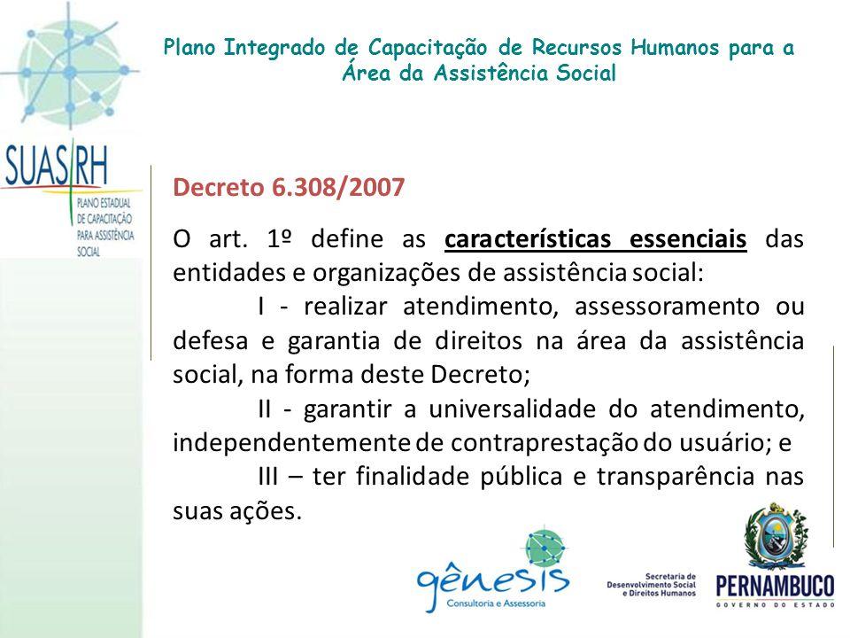 Decreto 6.308/2007 O art. 1º define as características essenciais das entidades e organizações de assistência social: I - realizar atendimento, assess