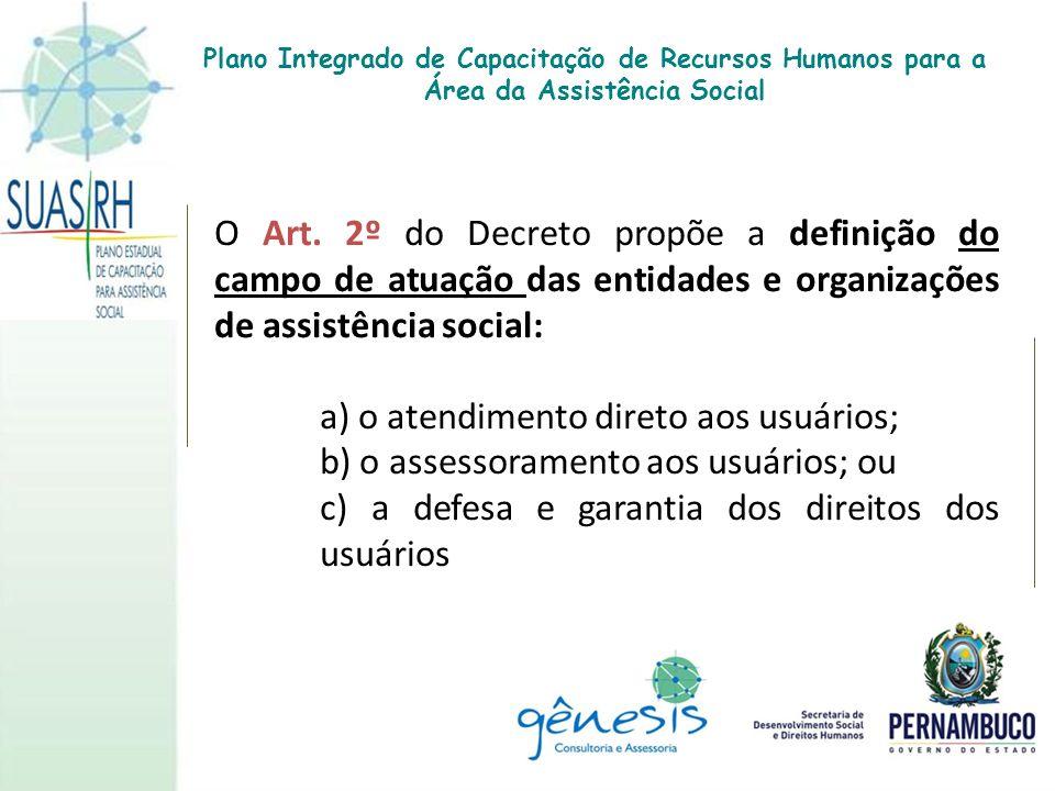 O Art. 2º do Decreto propõe a definição do campo de atuação das entidades e organizações de assistência social: a) o atendimento direto aos usuários;