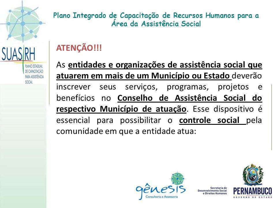ATENÇÃO!!! As entidades e organizações de assistência social que atuarem em mais de um Município ou Estado deverão inscrever seus serviços, programas,