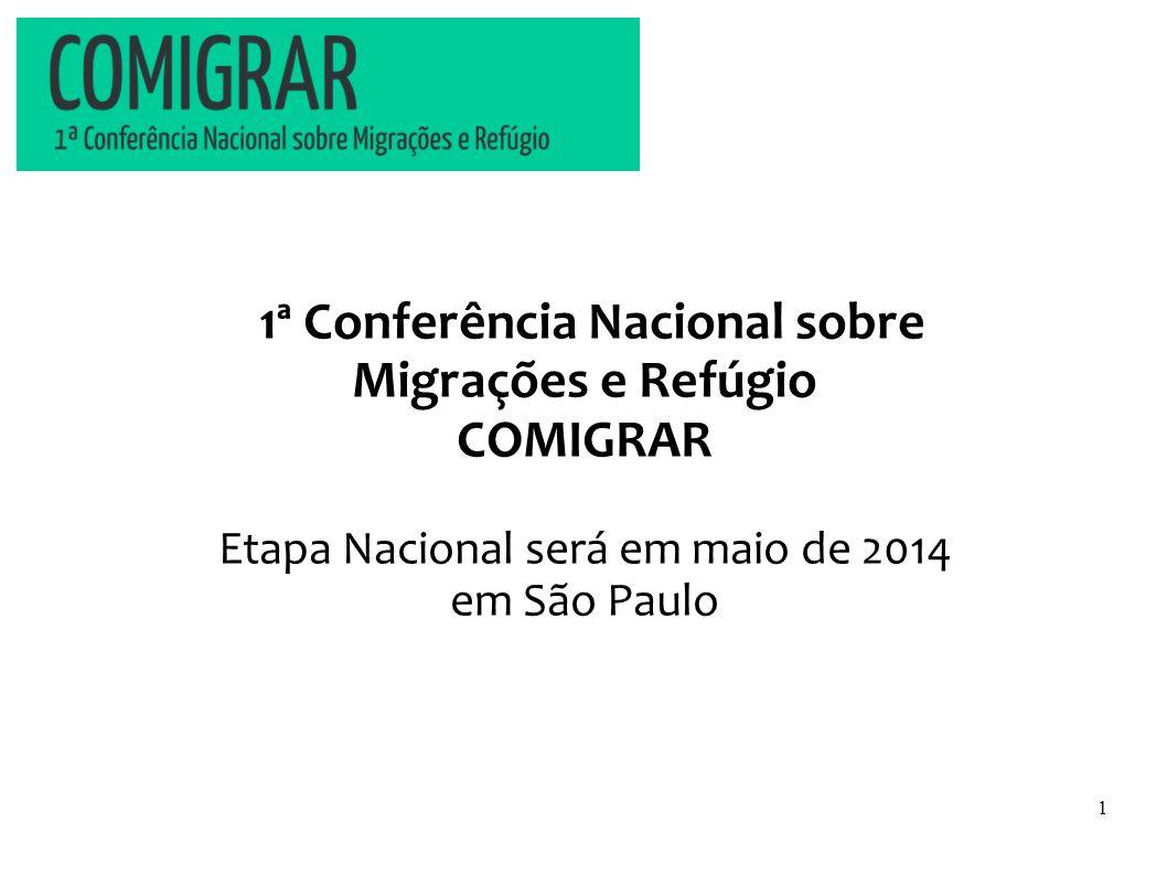 1ª Conferência Nacional sobre Migrações e Refúgio COMIGRAR Etapa Nacional será em maio de 2014 em São Paulo 1