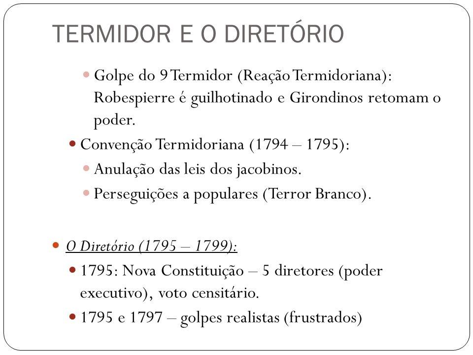 TERMIDOR E O DIRETÓRIO Golpe do 9 Termidor (Reação Termidoriana): Robespierre é guilhotinado e Girondinos retomam o poder.