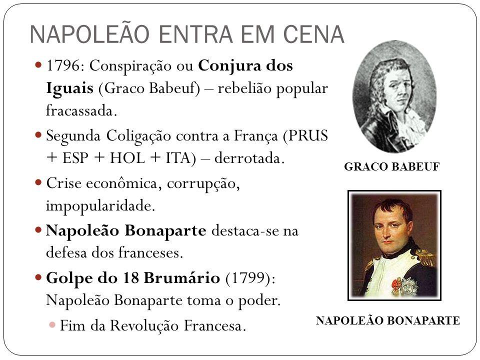NAPOLEÃO ENTRA EM CENA 1796: Conspiração ou Conjura dos Iguais (Graco Babeuf) – rebelião popular fracassada.