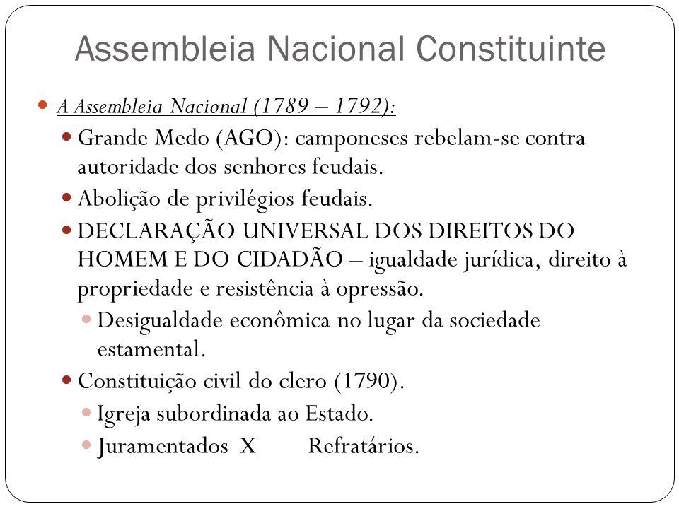 Assembleia Nacional Constituinte A Assembleia Nacional (1789 – 1792): Grande Medo (AGO): camponeses rebelam-se contra autoridade dos senhores feudais.