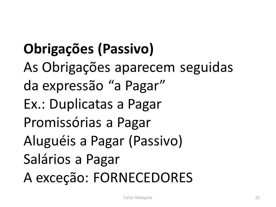 Obrigações (Passivo) As Obrigações aparecem seguidas da expressão a Pagar Ex.: Duplicatas a Pagar Promissórias a Pagar Aluguéis a Pagar (Passivo) Salá