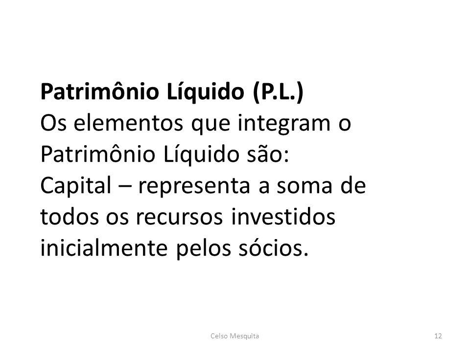 Patrimônio Líquido (P.L.) Os elementos que integram o Patrimônio Líquido são: Capital – representa a soma de todos os recursos investidos inicialmente pelos sócios.