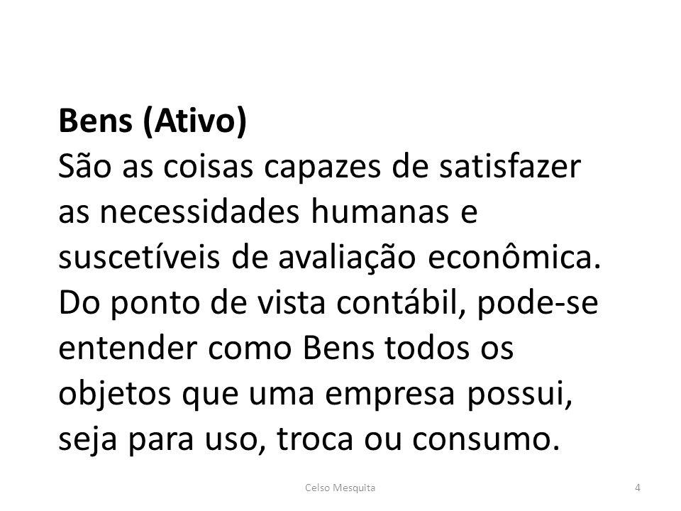 Bens (Ativo) São as coisas capazes de satisfazer as necessidades humanas e suscetíveis de avaliação econômica.