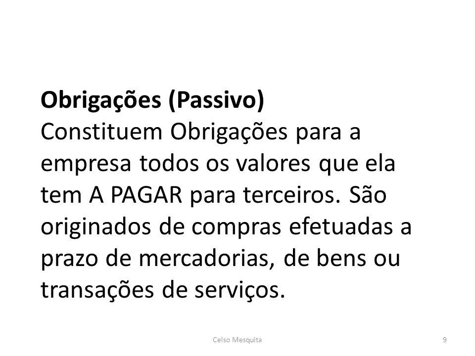 Obrigações (Passivo) Constituem Obrigações para a empresa todos os valores que ela tem A PAGAR para terceiros. São originados de compras efetuadas a p
