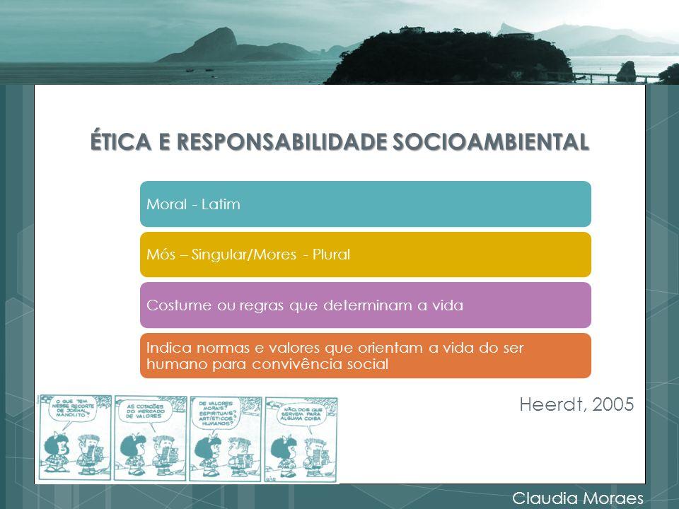 ÉTICA E RESPONSABILIDADE SOCIOAMBIENTAL Heerdt, 2005 Claudia Moraes Moral - LatimMós – Singular/Mores - PluralCostume ou regras que determinam a vida