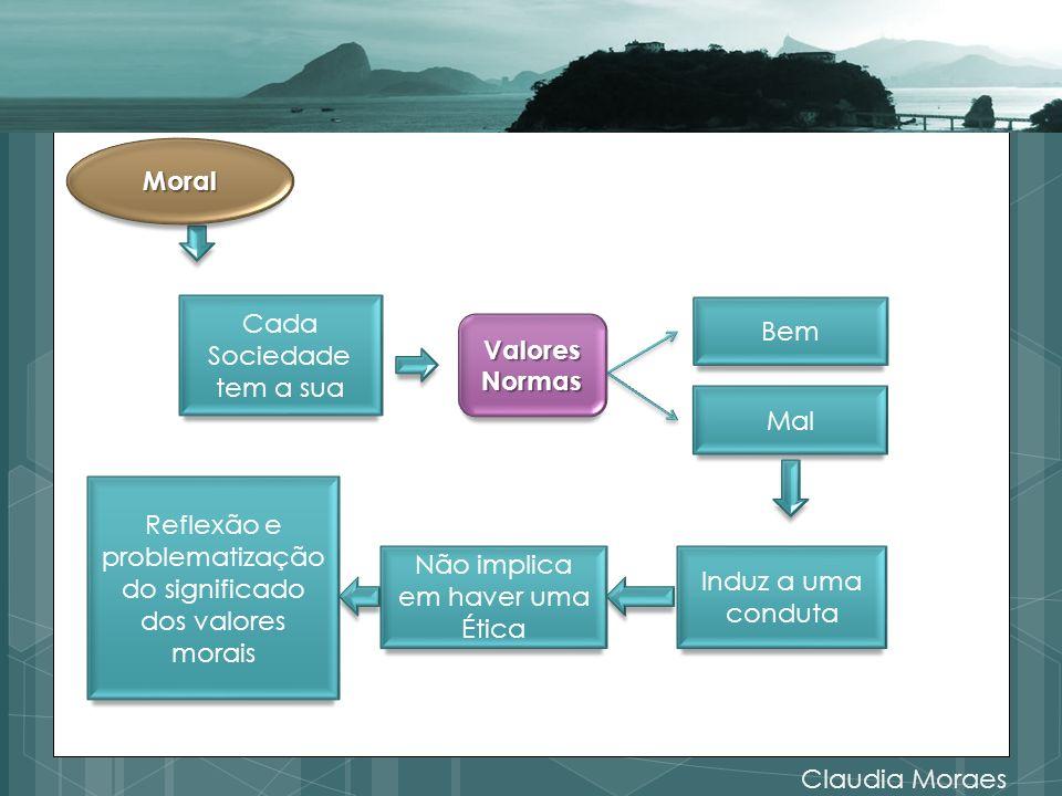 Claudia Moraes Bem Mal Cada Sociedade tem a sua Induz a uma conduta Não implica em haver uma Ética Reflexão e problematização do significado dos valores morais Moral ValoresNormas