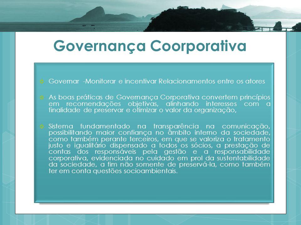 Governança Coorporativa Governar -Monitorar e incentivar Relacionamentos entre os atores As boas práticas de Governança Corporativa convertem princípi