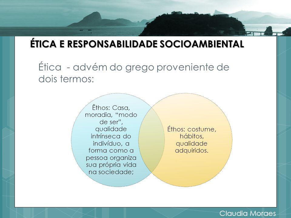 Ética - advém do grego proveniente de dois termos: ÉTICA E RESPONSABILIDADE SOCIOAMBIENTAL Êthos: Casa, moradia, modo de ser, qualidade intrínseca do