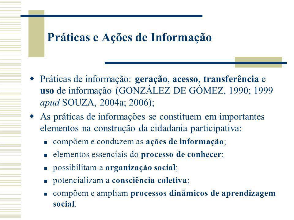 Práticas e Ações de Informação em Unidades de Informação A capacidade de gerar processos dinâmicos de aprendizagem social, em nível de uma organização, da comunidade, ou de instituições sociais básicas, é o elemento mais crítico das sociedades do conhecimento.