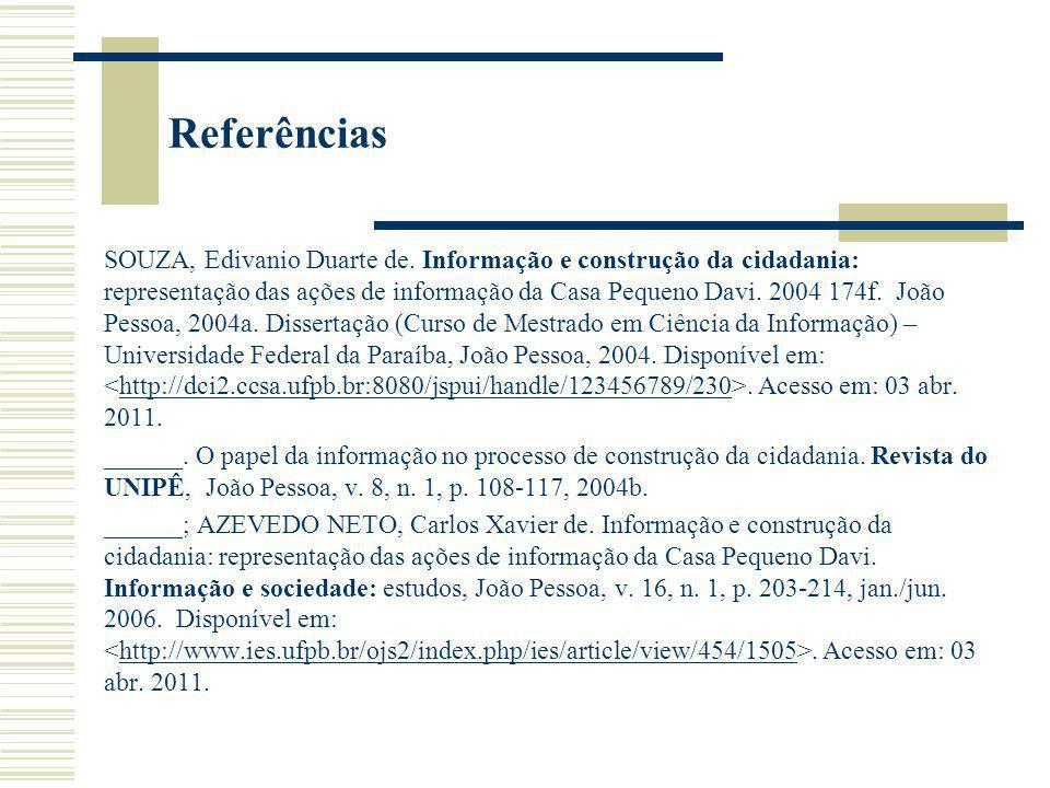Referências SOUZA, Edivanio Duarte de. Informação e construção da cidadania: representação das ações de informação da Casa Pequeno Davi. 2004 174f. Jo