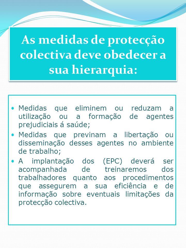 Medidas que eliminem ou reduzam a utilização ou a formação de agentes prejudiciais á saúde; Medidas que previnam a libertação ou disseminação desses a