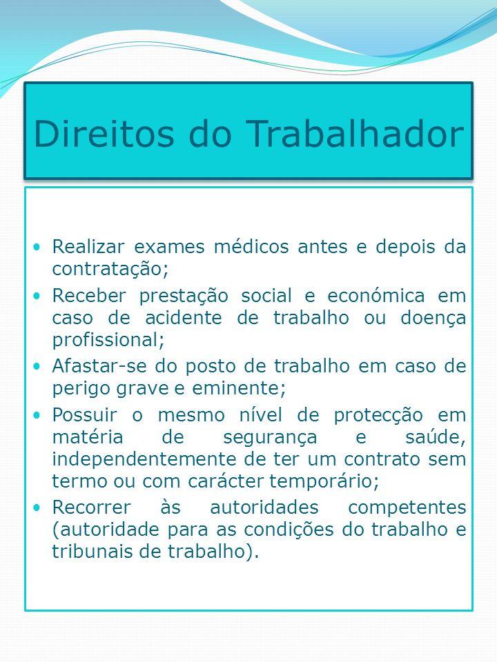 Realizar exames médicos antes e depois da contratação; Receber prestação social e económica em caso de acidente de trabalho ou doença profissional; Af