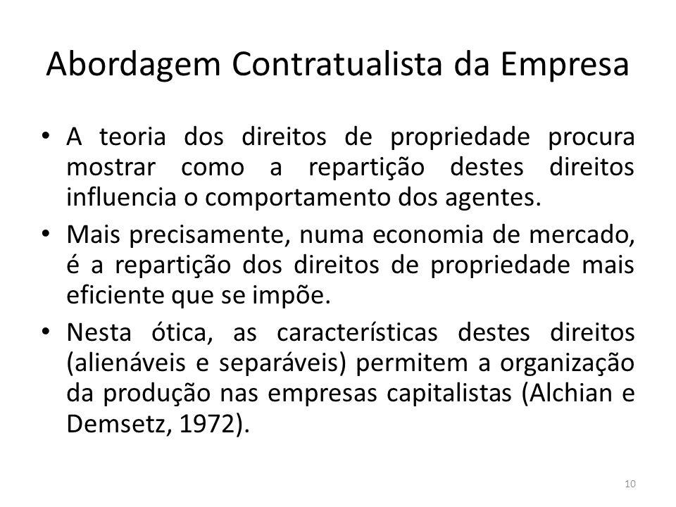 Abordagem Contratualista da Empresa A teoria dos direitos de propriedade procura mostrar como a repartição destes direitos influencia o comportamento