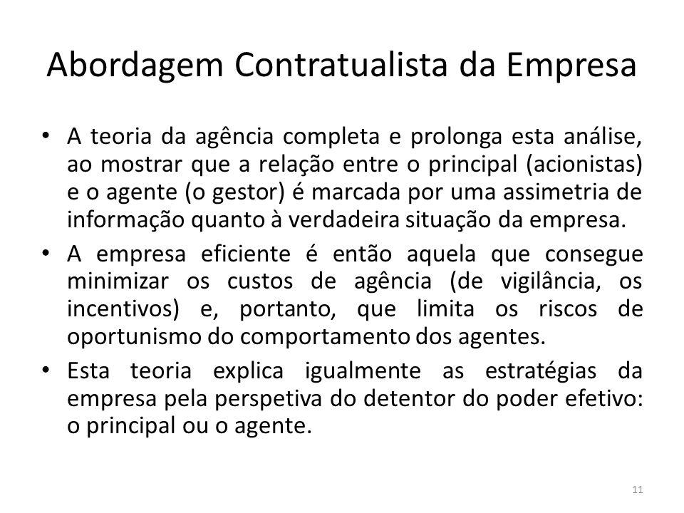 Abordagem Contratualista da Empresa A teoria da agência completa e prolonga esta análise, ao mostrar que a relação entre o principal (acionistas) e o