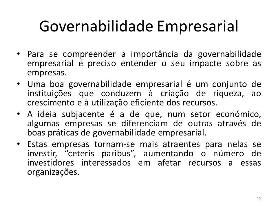 Governabilidade Empresarial Para se compreender a importância da governabilidade empresarial é preciso entender o seu impacte sobre as empresas. Uma b
