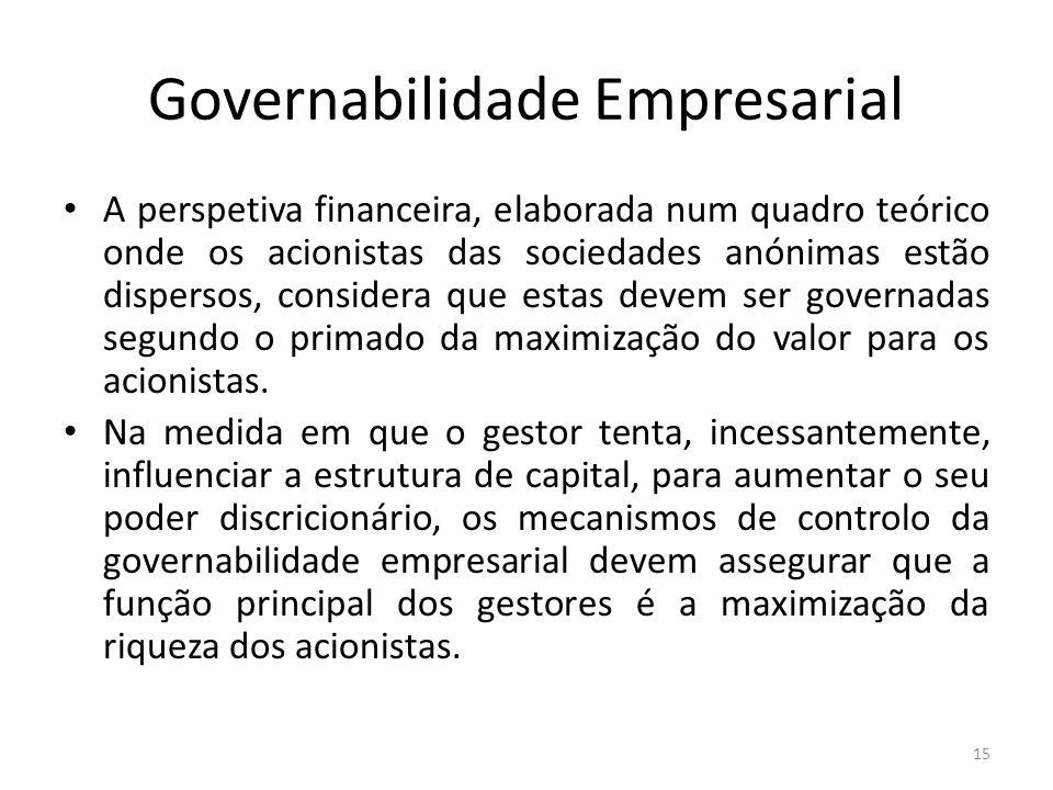 Governabilidade Empresarial A perspetiva financeira, elaborada num quadro teórico onde os acionistas das sociedades anónimas estão dispersos, consider