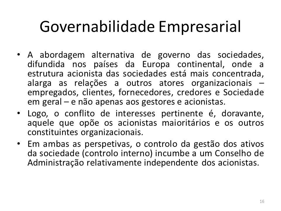 Governabilidade Empresarial A abordagem alternativa de governo das sociedades, difundida nos países da Europa continental, onde a estrutura acionista