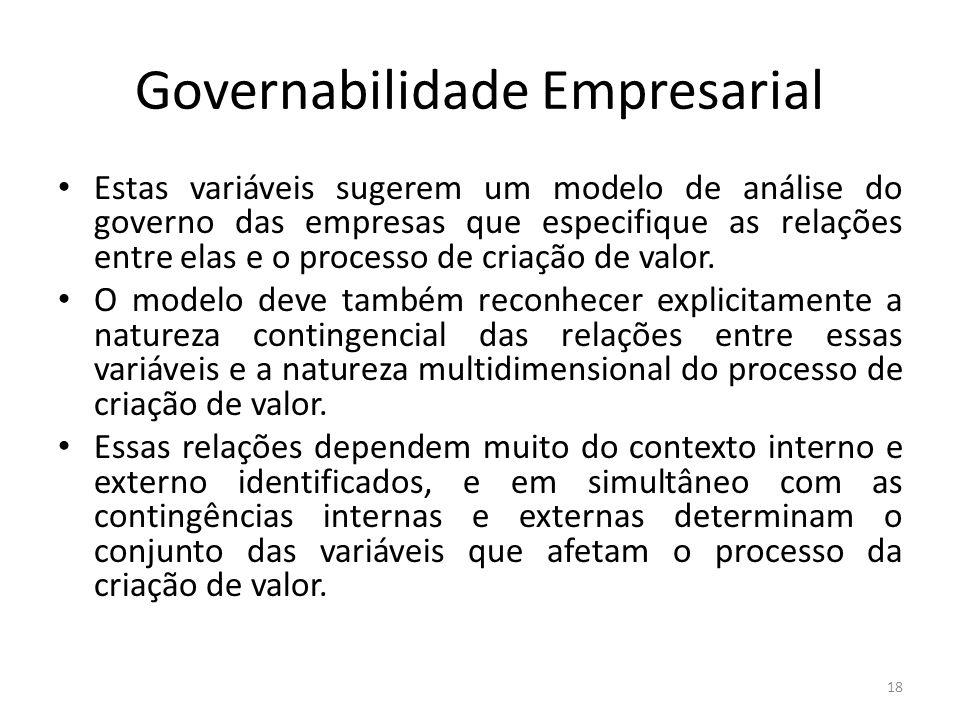 Governabilidade Empresarial Estas variáveis sugerem um modelo de análise do governo das empresas que especifique as relações entre elas e o processo d