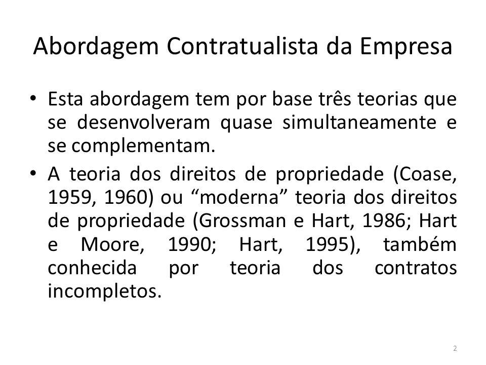 Abordagem Contratualista da Empresa Esta abordagem tem por base três teorias que se desenvolveram quase simultaneamente e se complementam. A teoria do