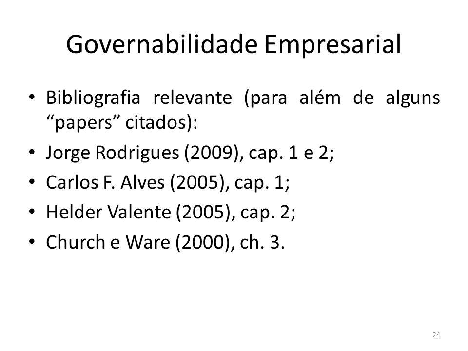 Governabilidade Empresarial Bibliografia relevante (para além de alguns papers citados): Jorge Rodrigues (2009), cap. 1 e 2; Carlos F. Alves (2005), c