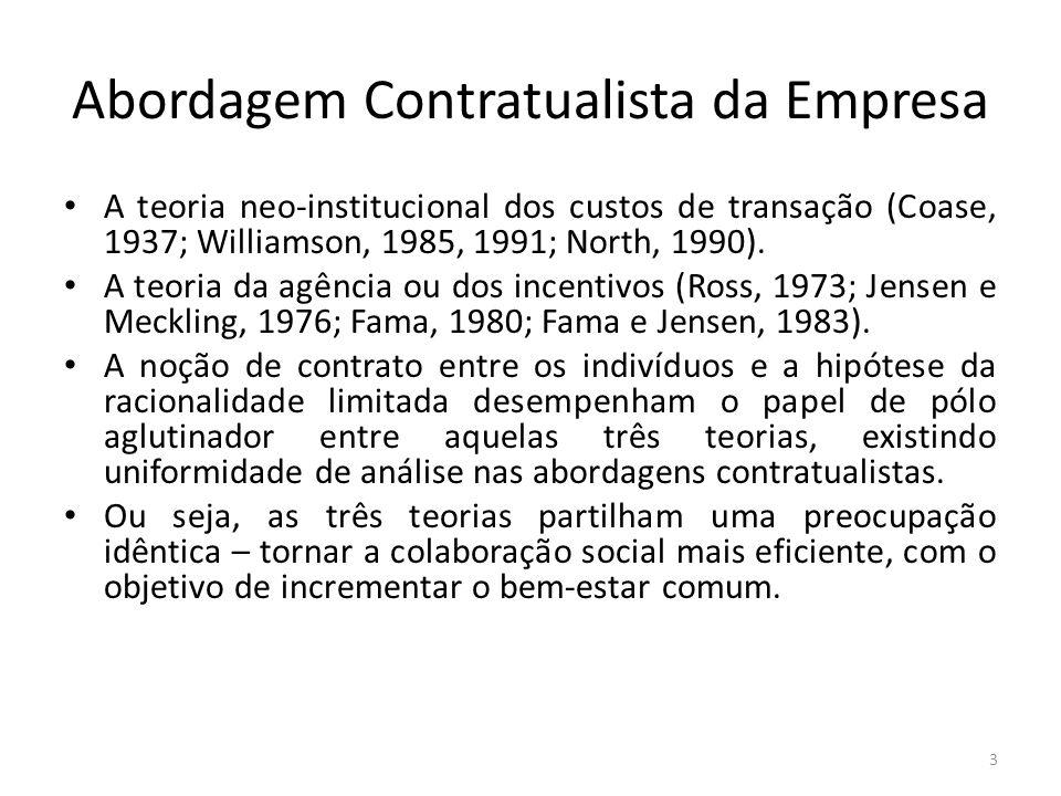 Abordagem Contratualista da Empresa A teoria neo-institucional dos custos de transação (Coase, 1937; Williamson, 1985, 1991; North, 1990). A teoria da
