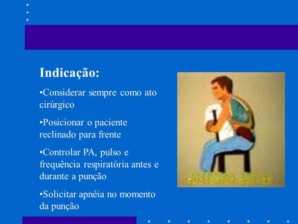 Indicação: Evidenciar líquido no espaço pleural Exame do líquido pleural Investigação de desvio de mediastino