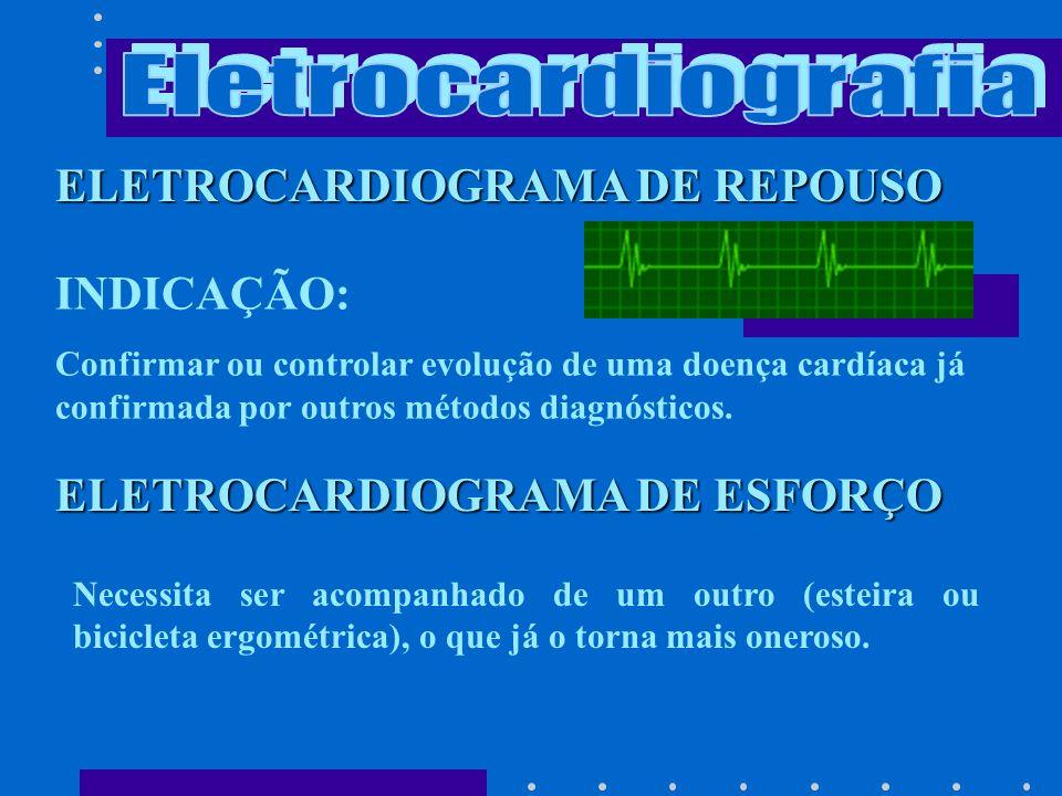 INDICAÇÃO: Quando o ECG de repouso ou esforço é difícil de interpretar devido alterações como bloqueio de ramo, baixa voltagem, alterações metabólicas.