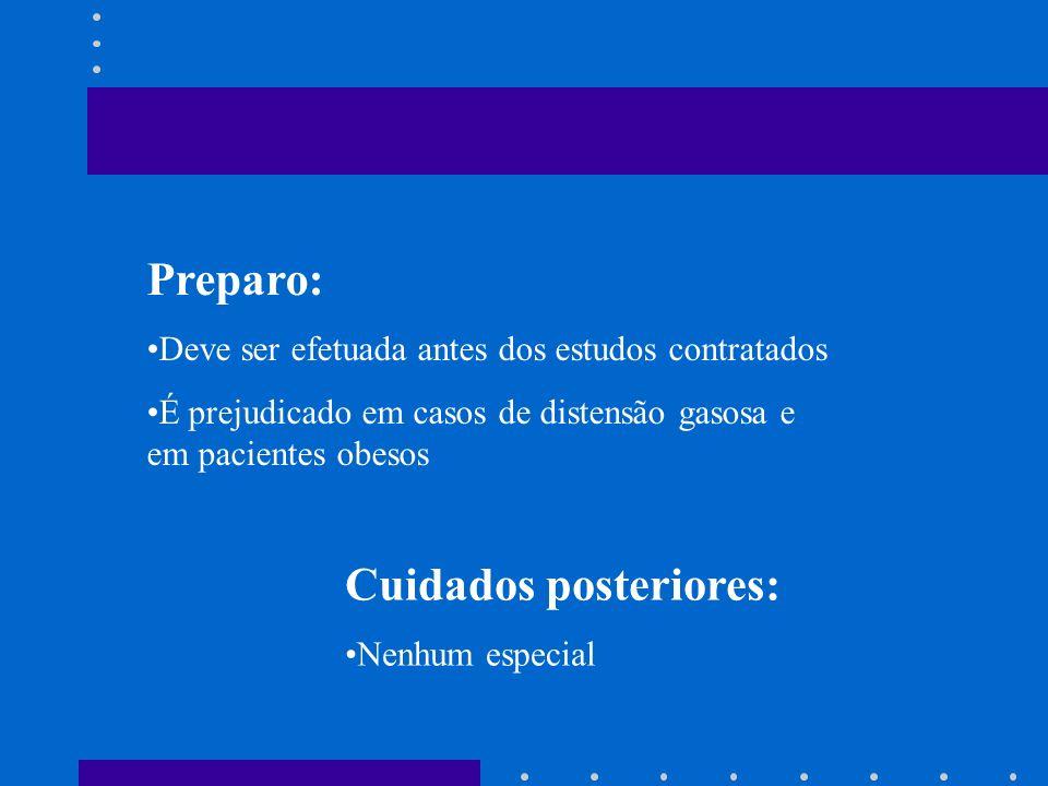 Indicação: Diagnóstico de cistos e tumores pancreáticos Estudos de massas intra-hepáticas Precisão de tamanho de cálculo e calibre das vias biliares i