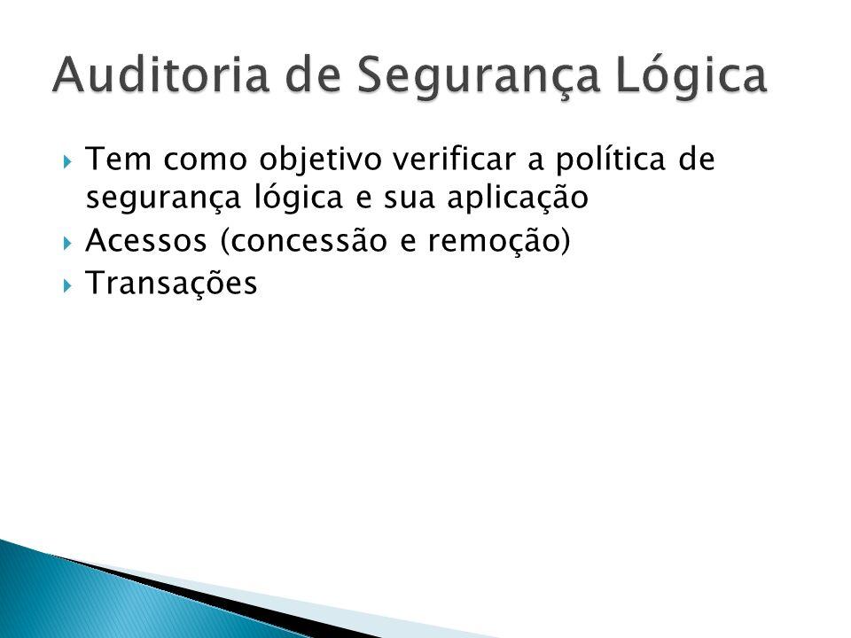 Tem como objetivo verificar a política de segurança lógica e sua aplicação Acessos (concessão e remoção) Transações