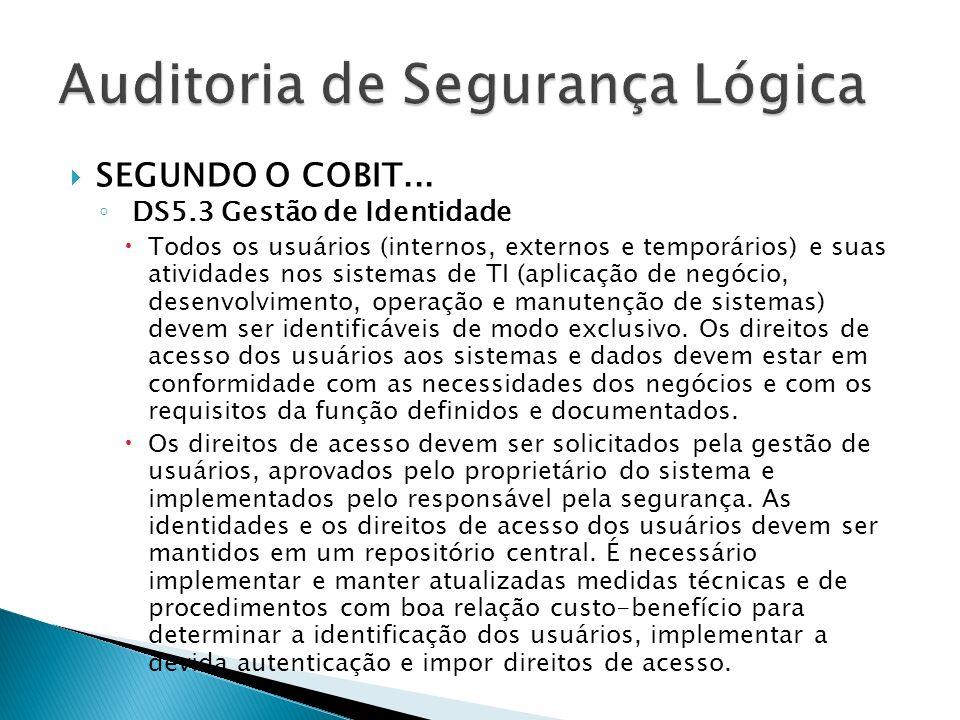 SEGUNDO O COBIT... DS5.3 Gestão de Identidade Todos os usuários (internos, externos e temporários) e suas atividades nos sistemas de TI (aplicação de