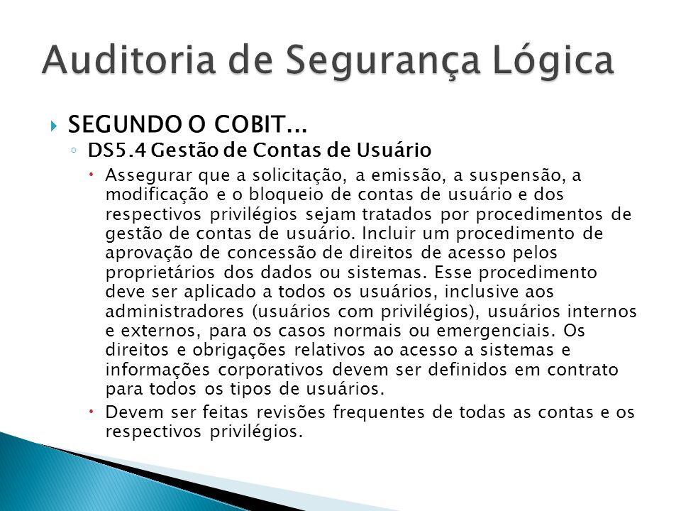 SEGUNDO O COBIT... DS5.4 Gestão de Contas de Usuário Assegurar que a solicitação, a emissão, a suspensão, a modificação e o bloqueio de contas de usuá