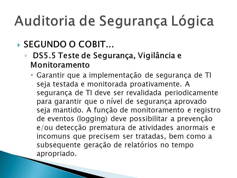 SEGUNDO O COBIT... DS5.5 Teste de Segurança, Vigilância e Monitoramento Garantir que a implementação de segurança de TI seja testada e monitorada proa