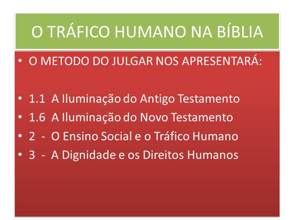 O TRÁFICO HUMANO NA BÍBLIA O METODO DO JULGAR NOS APRESENTARÁ: 1.1 A Iluminação do Antigo Testamento 1.6 A Iluminação do Novo Testamento 2 - O Ensino