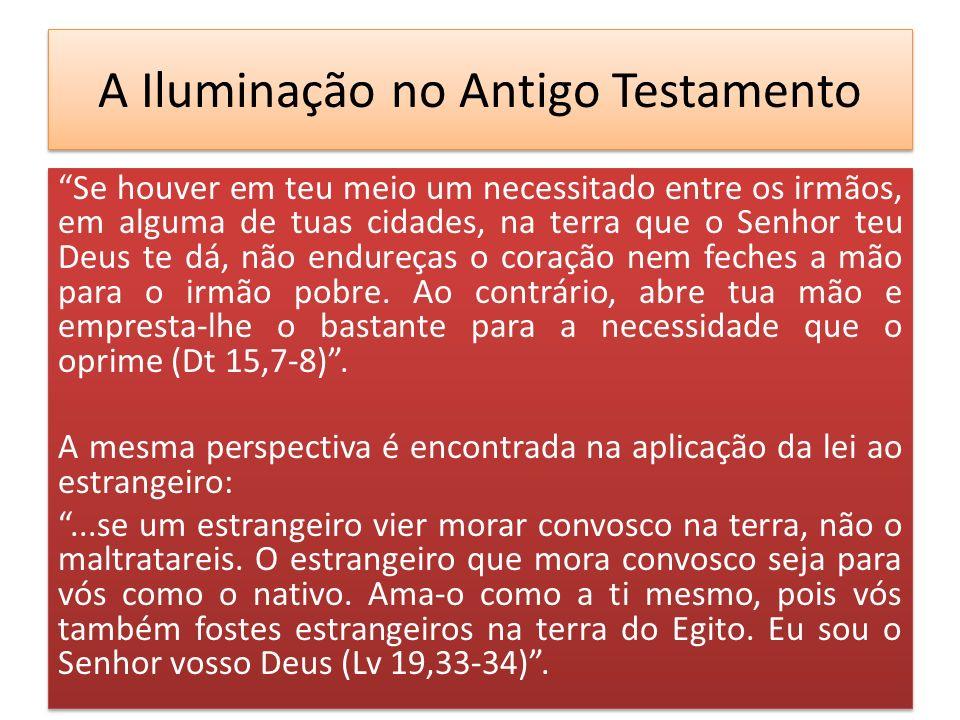 A Iluminação no Antigo Testamento Se houver em teu meio um necessitado entre os irmãos, em alguma de tuas cidades, na terra que o Senhor teu Deus te d