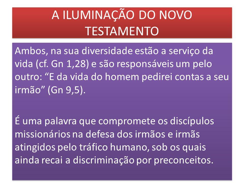 A ILUMINAÇÃO DO NOVO TESTAMENTO Ambos, na sua diversidade estão a serviço da vida (cf. Gn 1,28) e são responsáveis um pelo outro: E da vida do homem p