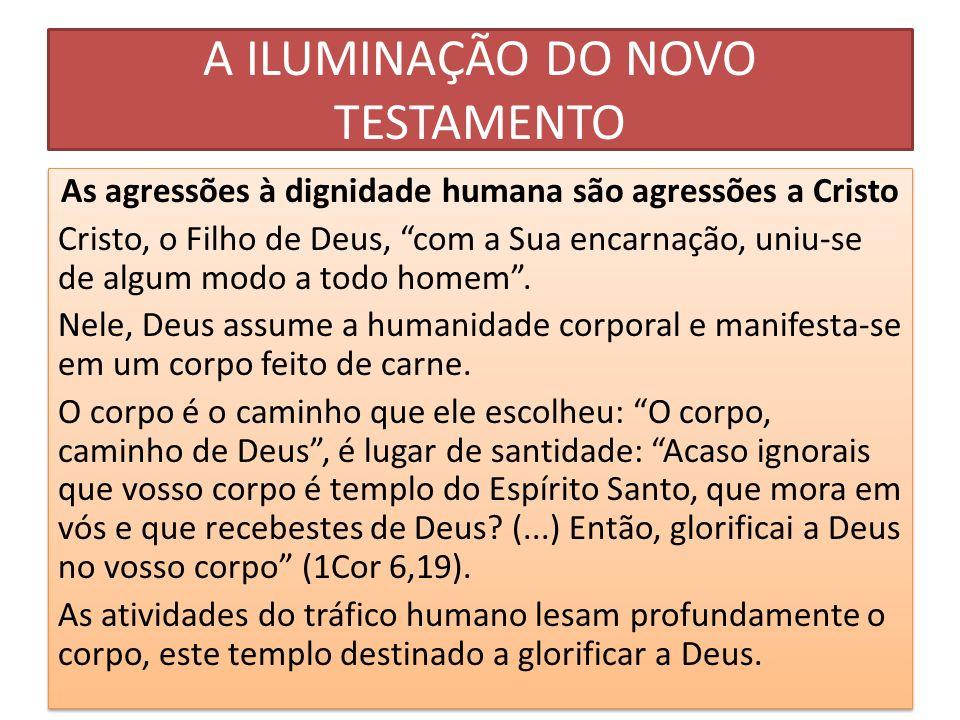 A ILUMINAÇÃO DO NOVO TESTAMENTO As agressões à dignidade humana são agressões a Cristo Cristo, o Filho de Deus, com a Sua encarnação, uniu-se de algum