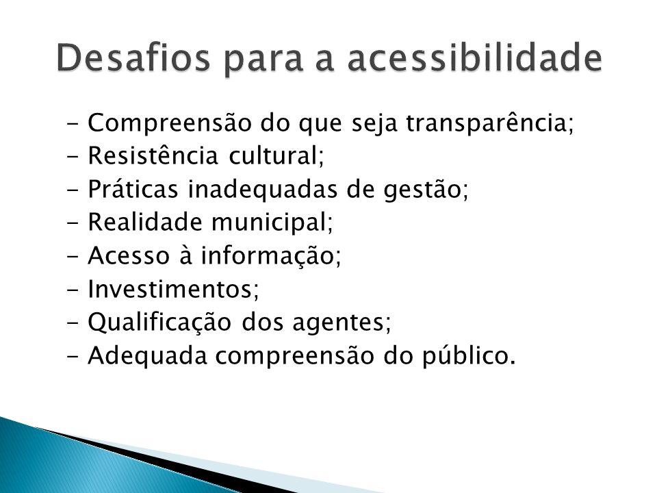 - Compreensão do que seja transparência; - Resistência cultural; - Práticas inadequadas de gestão; - Realidade municipal; - Acesso à informação; - Inv
