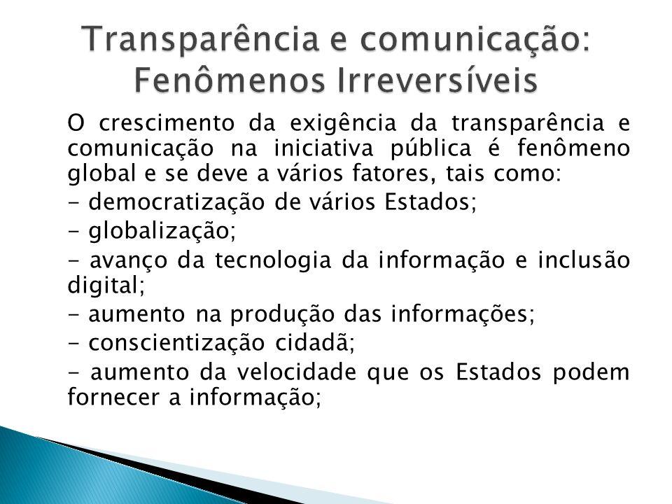 O crescimento da exigência da transparência e comunicação na iniciativa pública é fenômeno global e se deve a vários fatores, tais como: - democratiza