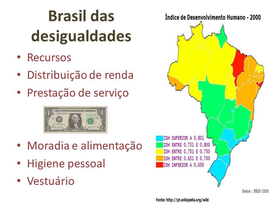 Brasil das desigualdades Recursos Distribuição de renda Prestação de serviço Moradia e alimentação Higiene pessoal Vestuário
