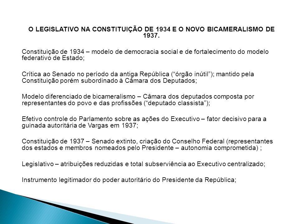 O LEGISLATIVO NA CONSTITUIÇÃO DE 1934 E O NOVO BICAMERALISMO DE 1937. Constituição de 1934 – modelo de democracia social e de fortalecimento do modelo