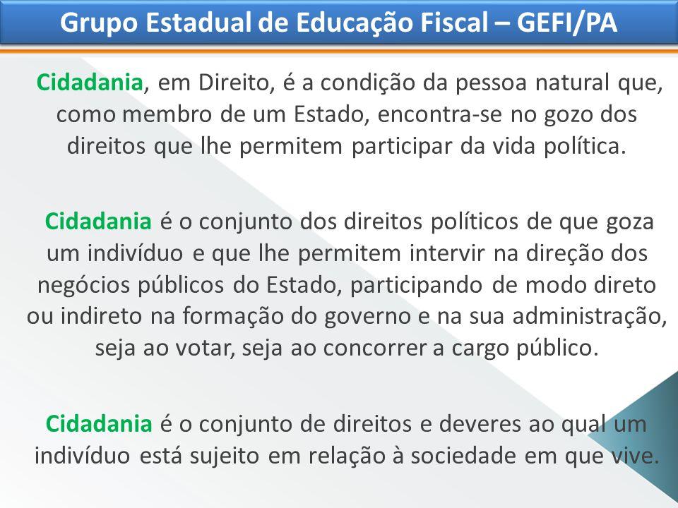 Grupo Estadual de Educação Fiscal Cidadania Fiscal é o vínculo que, necessariamente, existe entre o exercício da cidadania e o pagamento de tributos ao Estado.