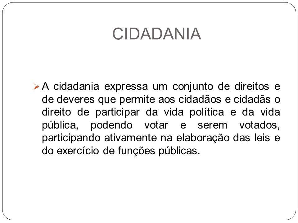 CIDADANIA A cidadania expressa um conjunto de direitos e de deveres que permite aos cidadãos e cidadãs o direito de participar da vida política e da v