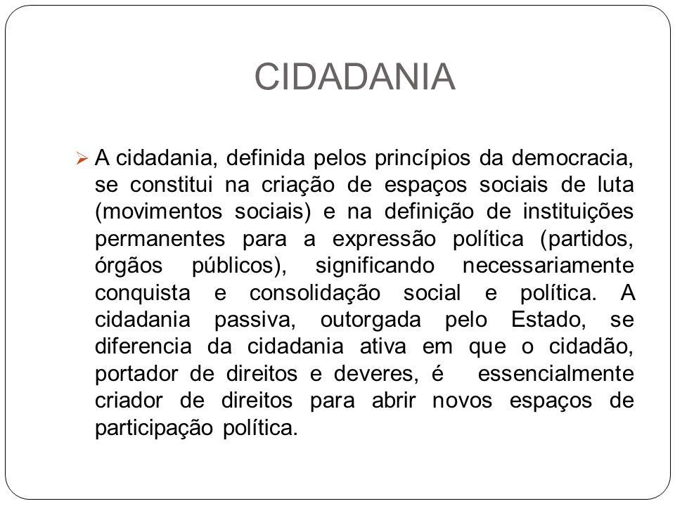 CIDADANIA A cidadania, definida pelos princípios da democracia, se constitui na criação de espaços sociais de luta (movimentos sociais) e na definição