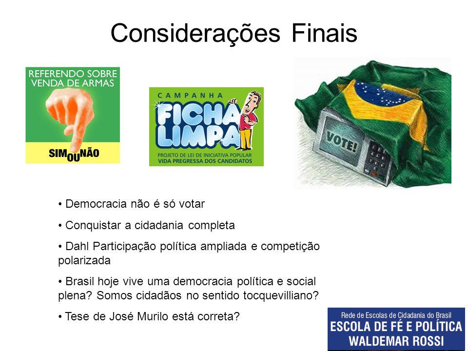 Considerações Finais Democracia não é só votar Conquistar a cidadania completa Dahl Participação política ampliada e competição polarizada Brasil hoje