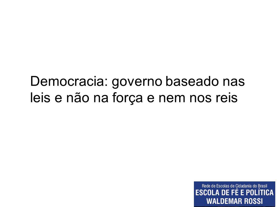 Democracia: governo baseado nas leis e não na força e nem nos reis