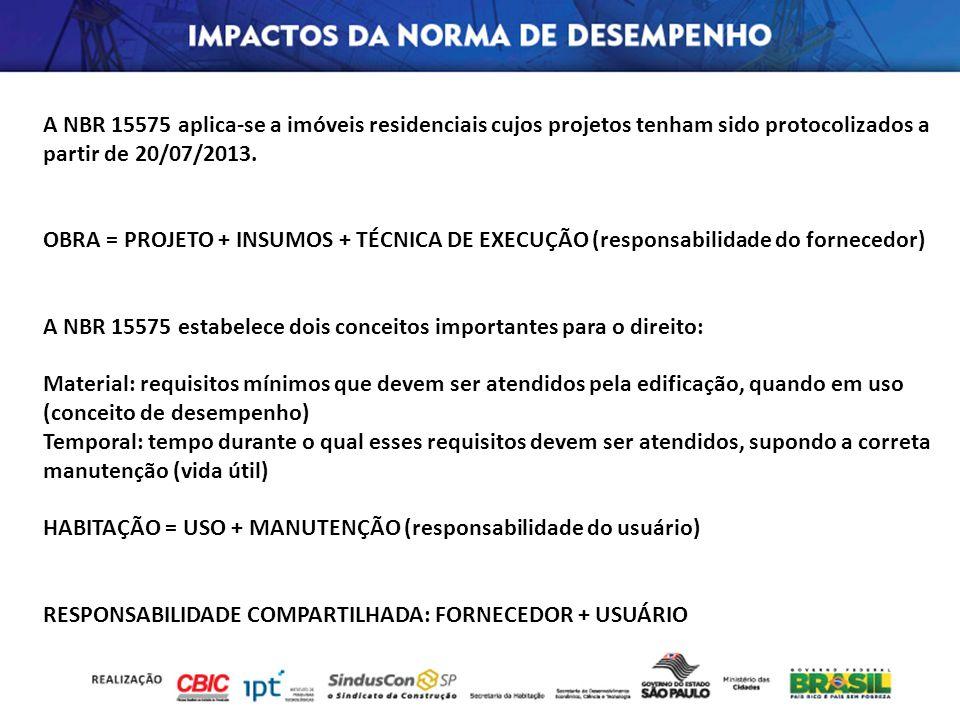 A NBR 15575 aplica-se a imóveis residenciais cujos projetos tenham sido protocolizados a partir de 20/07/2013. OBRA = PROJETO + INSUMOS + TÉCNICA DE E