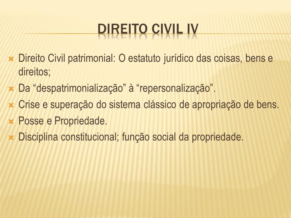 Direito Civil patrimonial: O estatuto jurídico das coisas, bens e direitos; Da despatrimonialização à repersonalização. Crise e superação do sistema c